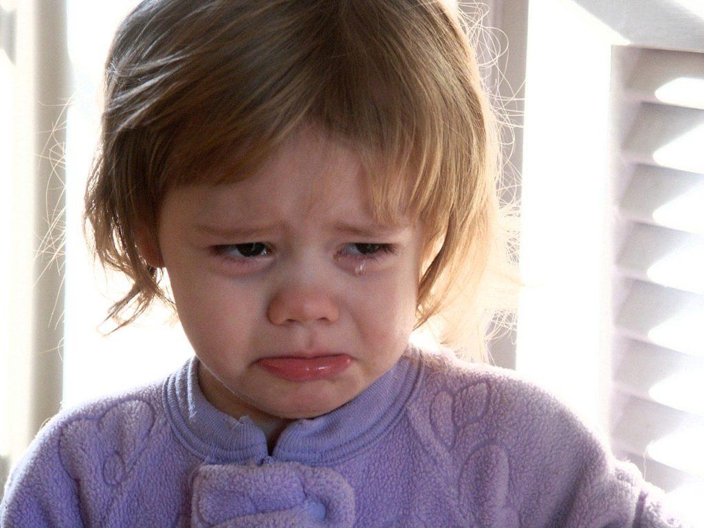 small girl crying