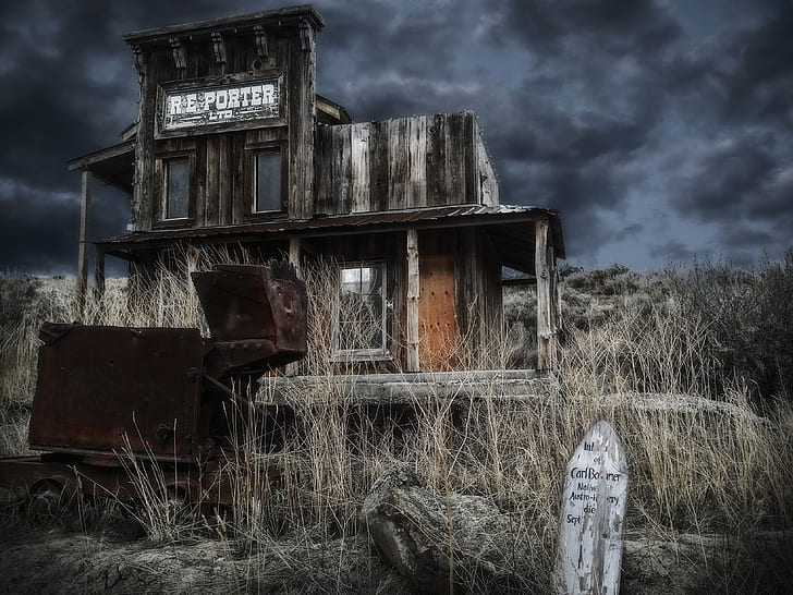 A wooden haunted house with dark sky in California