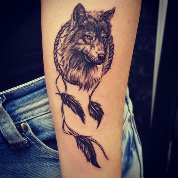 wolf dreamcatcher tattoo