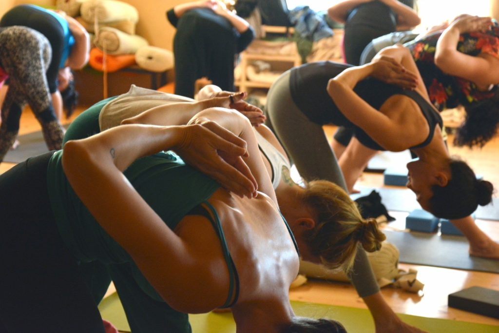 a view of hot yoga class