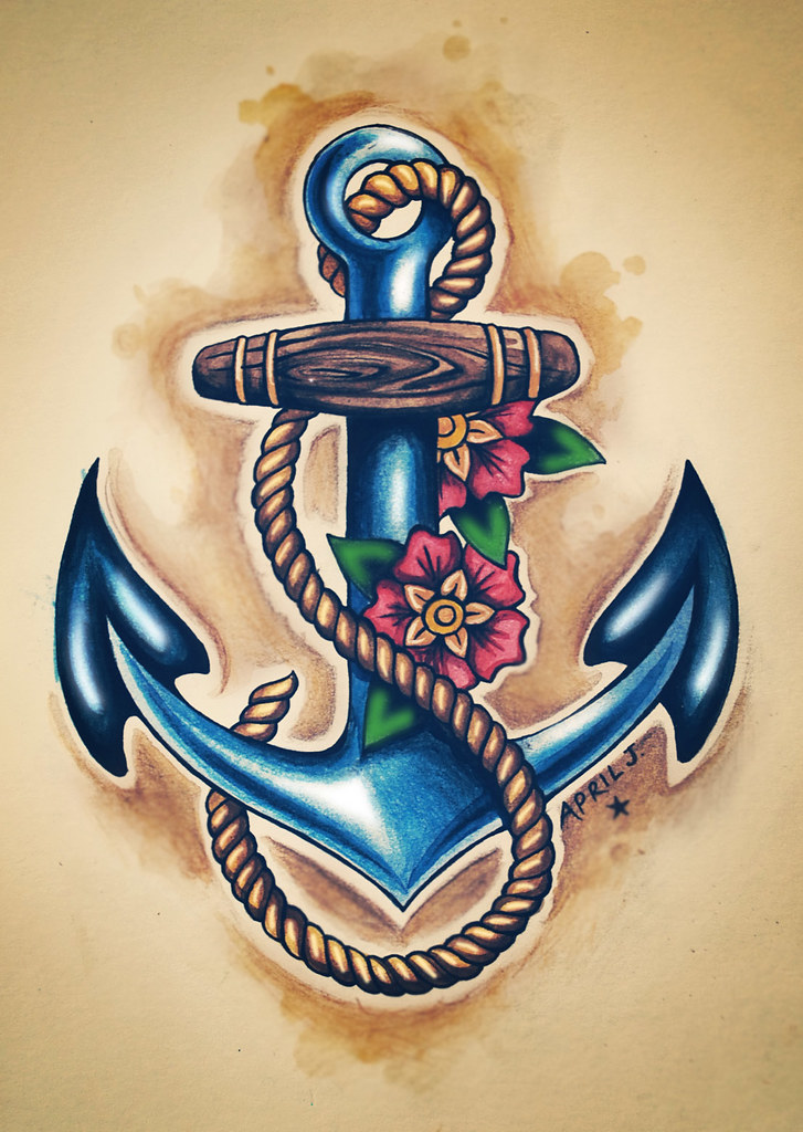 Hawaii Inspired anchor tattoo with flowers and memorable date