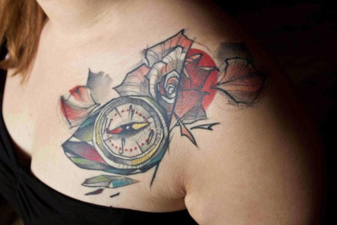 simple compass tattoo
